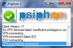 翻墙SSH VPN:Psiphon 3 (赛风3) 下载及使用方法