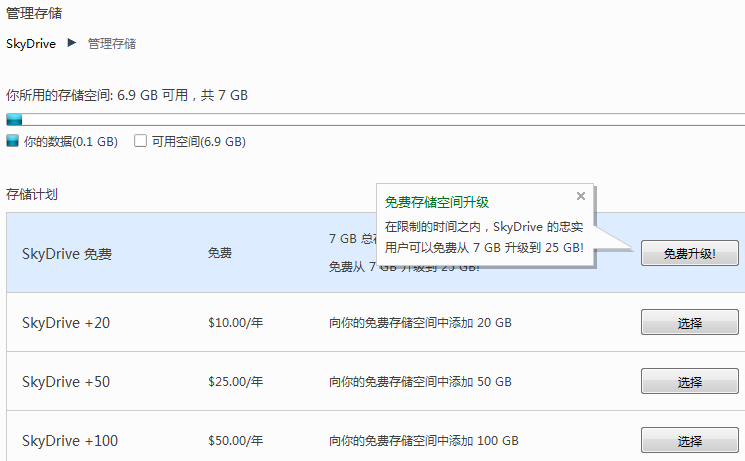 SkyDrive 免费网盘从25G变为7G,限时升级回25G