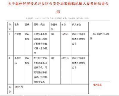 温州一公安局公开采购木马病毒:监控手机通话